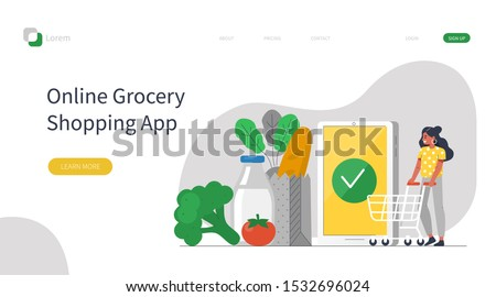 Woman Character with Trolley Buying Grocery Food Products in Mobile App. Order and Delivery in Online Supermarket. Grocery Shopping Online Concept. Flat Cartoon Vector Illustration.