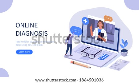 Woman Chatting Online on Medical Internet Portal. Patient having Online Consultation with Doctor. Modern Health Care Services and Online Telemedicine Concept. Flat Isometric Vector Illustration.