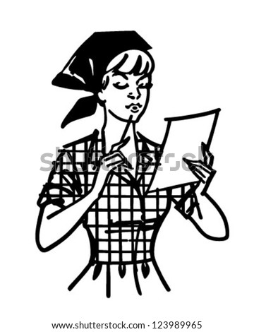 Woman Checking List - Retro Clipart Illustration