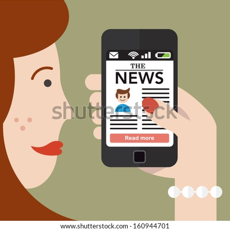 Woman checking the news on a Smartphone