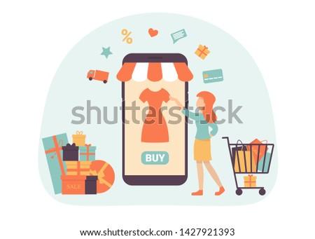 Woman choose goods in a mobile application online. Shopping concept flat illustration for web design, banner, mobile app, landing page. Flat vector illustration.