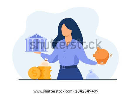 Woman choosing between bank and piggybank, choosing instrument for saving, planning budget or loan. Vector illustration for personal finance or economy concept