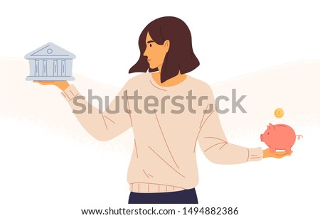 Woman choosing between bank and piggybank flat vector illustration. Budget planning concept isolated clipart. Money savings investment and funding. Bank loan and economy choice. Financial literacy.