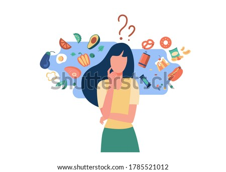 Woman choosing between healthy and unhealthy food. Character thinking over organic or junk snacks choice. Vector illustration for good vs bad diet, lifestyle, eating concepts