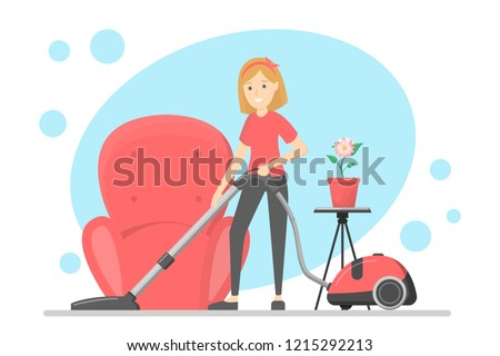 Woman clean the house and carpet with vacuum cleaner. Housewife make domestic work. Isolated vector flat illustration
