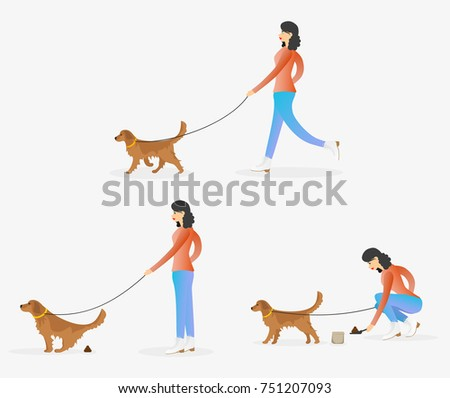 woman cleaning after dog girl