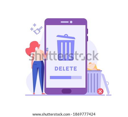 Woman cleaning phone, smartphone with trash can sign. User removing files or documents to waste bin. Concept of delete file, cleaning smartphone, removing process. Flat vector illustration for UI