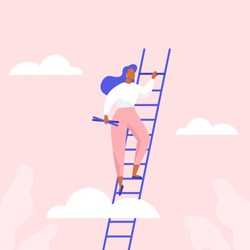 Woman climbing the stairs. Сareer growth, achievement of success in business or study. Flat vector illustration.