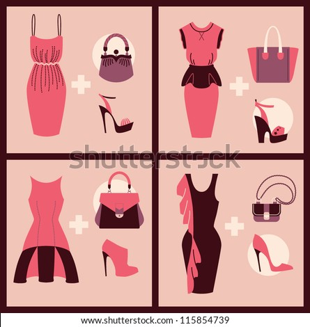 woman clothes shoes and bags collection vector eps 10