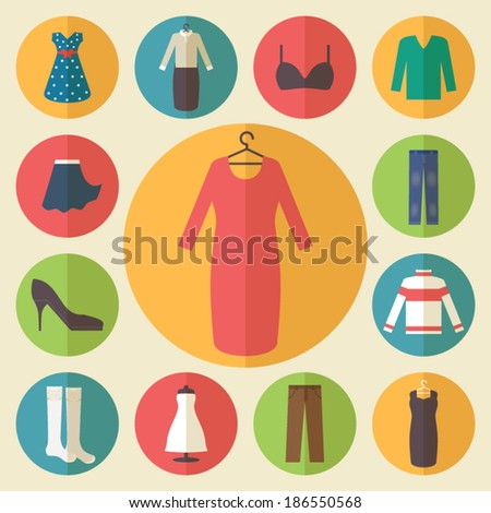 woman clothing icons set
