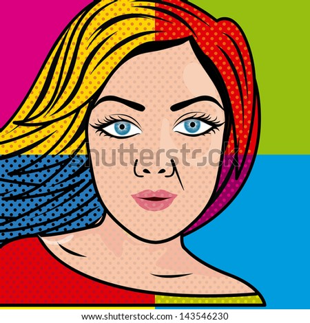 Stock Photo woman comics over colorful background vector illustration