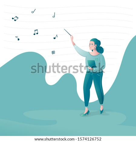 Woman conductor conducting orchestra fly sheet music playing music green tones treble clef wand maestro of an orchestra band director Philharmonic