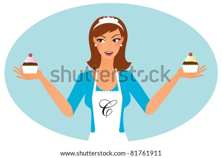 woman confectioner with cupcakes