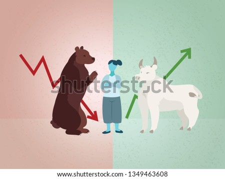 Woman considering business advice; bull and  bear markets