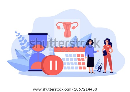 Woman consulting female doctor about menopause and estrogen level. Tiny characters with calendar, hourglass and pause sign. Vector illustration for gynecology, reproductive health problems concept Foto d'archivio ©