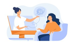 Woman consulting psychologist online. Doctor and patient discussing mental tangled rope, using computer for distance talk. Vector illustration for counseling, therapy, psychology, support concept.