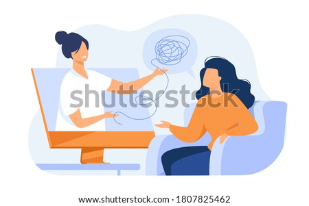 Woman consulting psychologist online. Doctor and patient discussing mental tangled rope, using computer for distance talk. Vector illustration for counseling, therapy, psychology, support concept. Foto stock ©