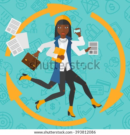 woman coping with multitasking