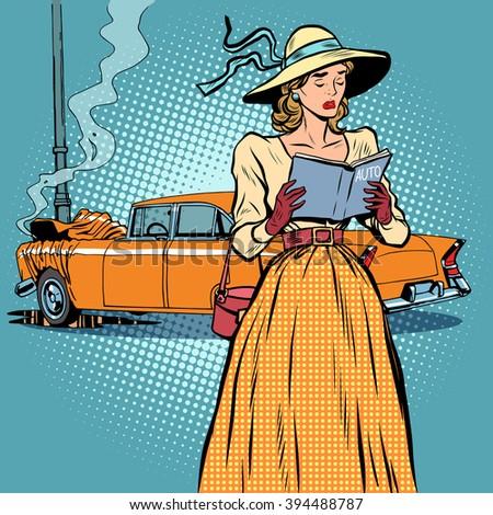 woman crash car retro funny