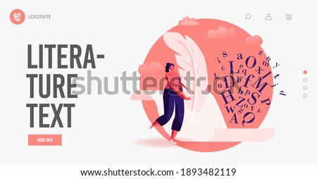 Woman Create Books, Poetry or Narration Landing Page Template. Literature or Writing Hobby, Occupation. Tiny Female Author Character with Huge Feather Pen Writing on Paper. Cartoon Vector Illustration Photo stock ©