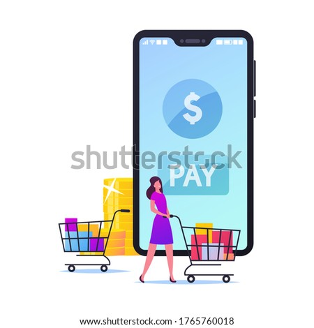 Woman Customer Pushing Trolley with Purchases in Colorful Paper Bags to Cashier Desk front of Huge Smartphone and Stacks of Golden Coins. Buyer Character Cashless Payment. Cartoon Vector Illustration