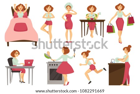 stock-vector-woman-daily-routine-vector-icons