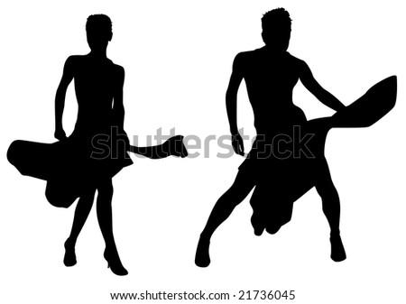 woman dances silhouette vector