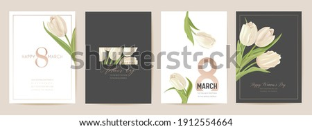 Woman day 8 March holiday card. Spring floral vector illustration. Greeting realistic tulip flowers template, luxury flower background, international women day concept flyer, modern party design