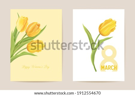 Woman day 8 March holiday card. Spring floral vector illustration. Greeting realistic tulip flowers template, luxury flower background, international women day concept flyer, modern party design Photo stock ©