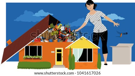 Woman decluttering, throwing away things from a house, overflown by stuff, EPS 8 vector illustration Stock foto ©