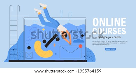 Woman dive into notebook or laptop. Online smm, design, programming courses and other internet profession concept. Start or advance your business or career banner, web landing page, advertisement.