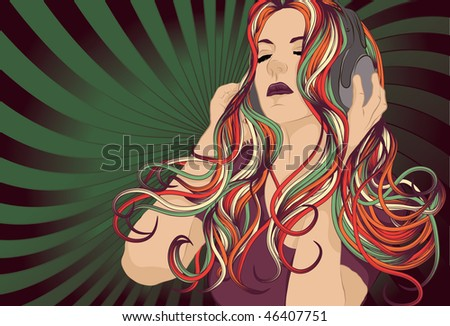 Woman DJ with colorful hair listening to music with headphones.