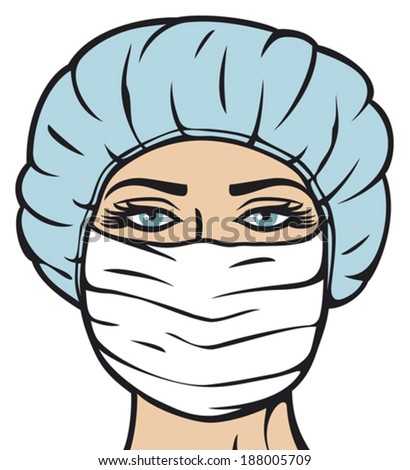 woman doctor in surgical mask  (nurse with mask and cap, female doctor in mask)
