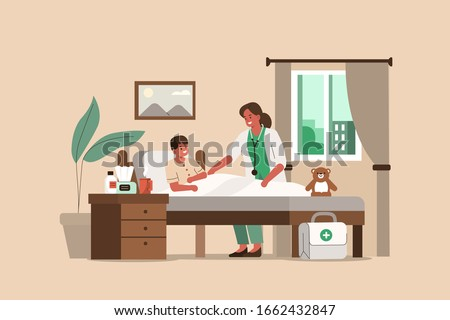 Woman Doctor Visiting Little Boy in his House. Kid Lying in Bed while having Examination with Doctor Pediatrician. Medical People Characters. Doctor at Home Concept. Flat Cartoon Vector Illustration.
