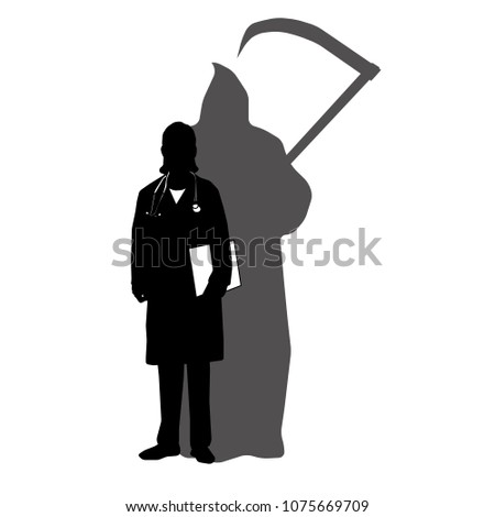 woman doctor with shadow of