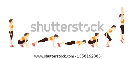 Woman doing a Burpee with Push Up step for exercise guide. Illustration about correct workout diagram.