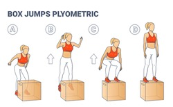 Woman Doing Box Jumps Illustration. Young Woman in Sportswear White Leggings, Lush Lava Top and Sneakers Does the Plyometric Workout Exercise.