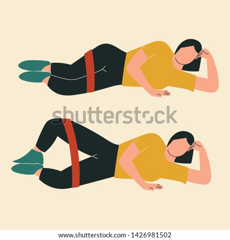 Woman doing clamshells. Illustrations of glute exercises and workouts. Flat vector illustration.