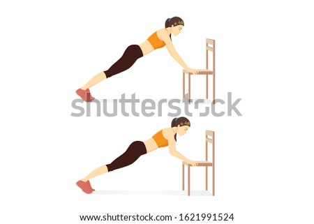 Woman doing exercise with Chair Push Up in 2 step for abs muscles building. Illustration about workout with home equipment. Foto stock ©