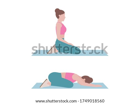Woman doing exercises.  Step by step instruction for doing Child's Pose is a gentle stretch for the back, hips, thighs, and ankles. It can help relieve back pain.  Isolated vector illustration in cart Stock fotó ©