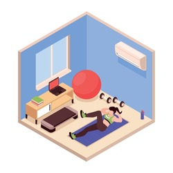 Woman doing fitness at home with various sports equipment isometric 3d vector illustration
