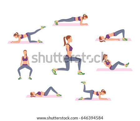 Woman doing fitness workout. Lunges, squat, Russian twist exercises. Vector illustration.