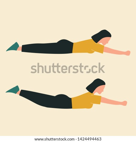 Woman doing floor jacks. Illustrations of glute exercises and workouts. Flat vector illustration.