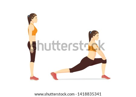 Woman doing Hip Flexor Stretches to Release Tightness and Gain Flexibility in Your Hips. Illustration about exercise diagram.