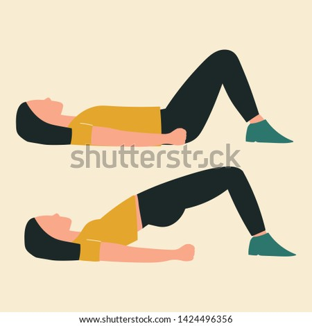 Woman doing hip thrusts. Illustrations of glute exercises and workouts. Flat vector illustration.