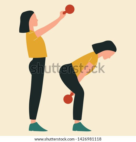 Woman doing kettlebell swings. Illustrations of glute exercises and workouts. Flat vector illustration.