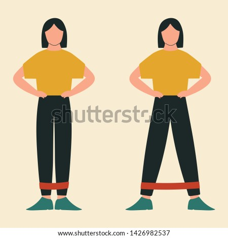 Woman doing lateral stepping. Illustrations of glute exercises and workouts. Flat vector illustration.