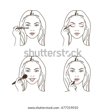 Woman doing make up. Applying mascara, eyeshadow, powder and lipstick. Line style vector illustration isolated on white background.