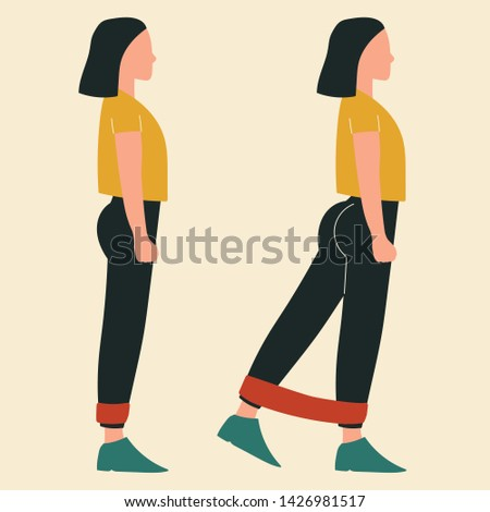 Woman doing standing kickbacks with band. Illustrations of glute exercises and workouts. Flat vector illustration.