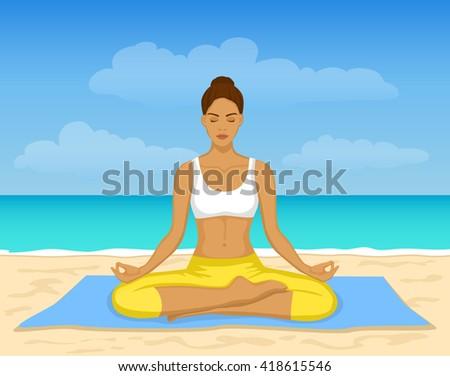 original yoga painting omwoman yoga meditate. Woman Doing Yoga Meditation At The Beach Vector Illustration. Meditating Seaside. Original Painting Omwoman Meditate A